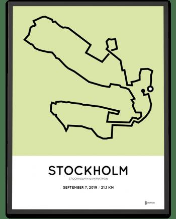 2019 Stockholm halvmarathon course poster