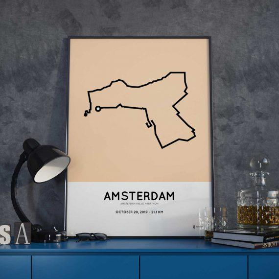2019 Amsterdam halve marathon parcours poster