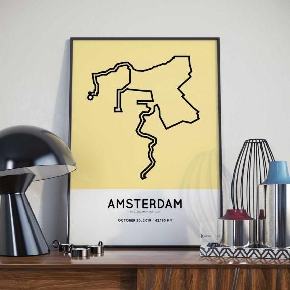 2019 Amsterdam marathon route poster