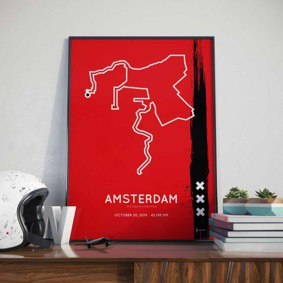 2019 Amsterdam marathon route sportymaps print