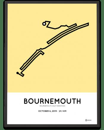 2019 Bournemouth half marathon coursemap poster Sportymaps