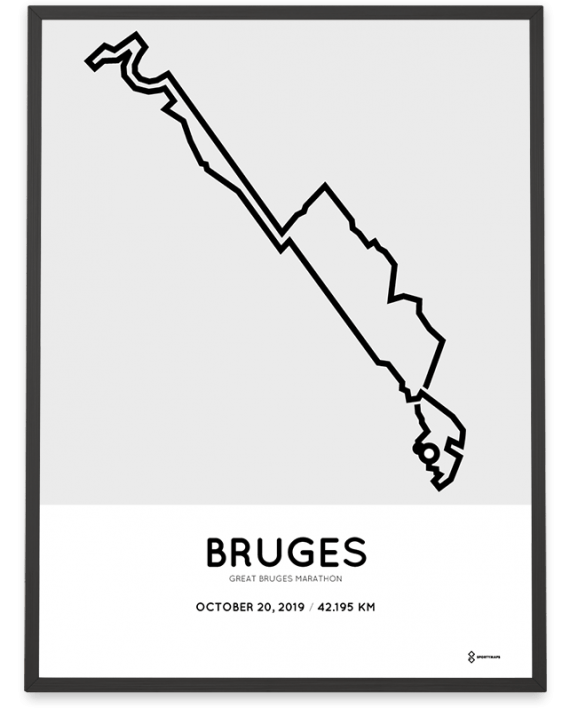 2019 Great Bruges marathon routemap print