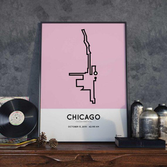 2019 Chicago marathon course poster