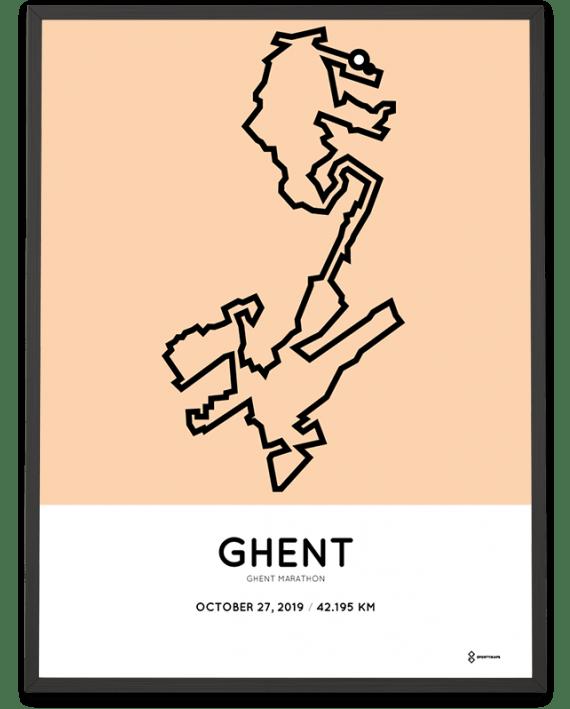 2019 Ghent marathon route print