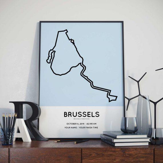 2019 Brussels marathon course print