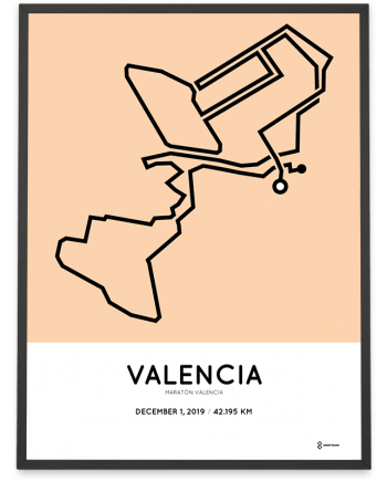 2019 Valencia marathon course poster sportymaps