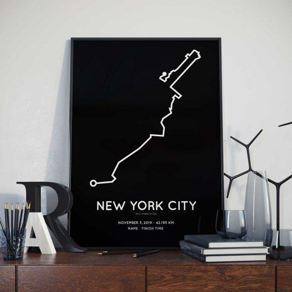 2019 New York City marathon sportymaps print