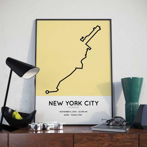 2019 NYC marathon course print