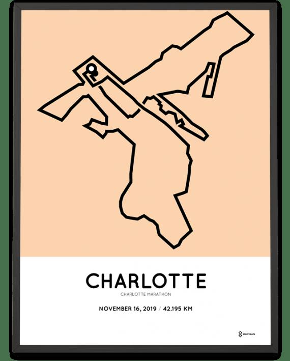 2019 Charlotte marathon course poster