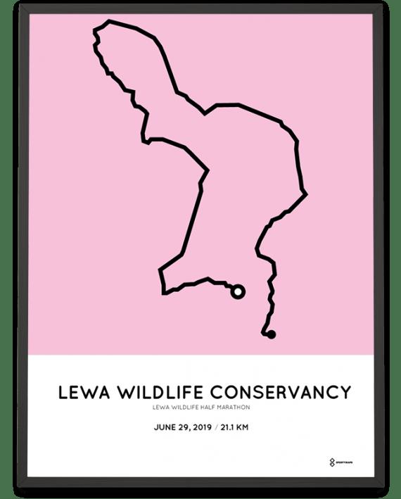 2019 Lewa Wildlife half marathon course poster
