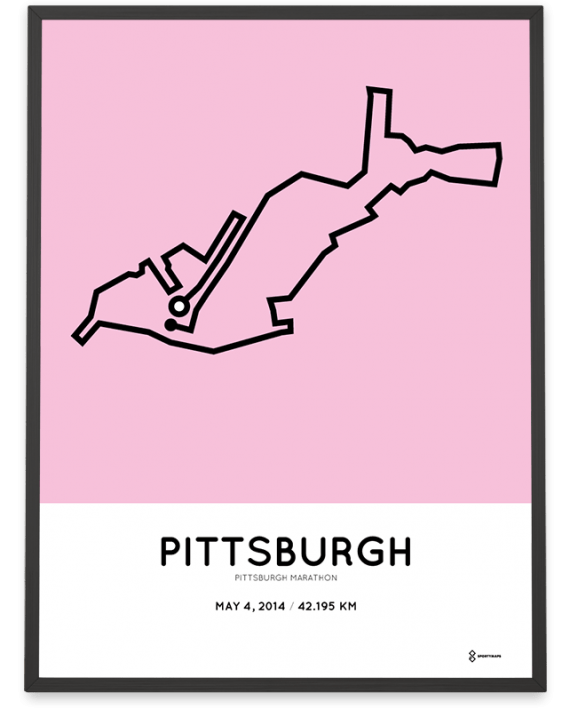 2014 Pittsburgh marathon course map print