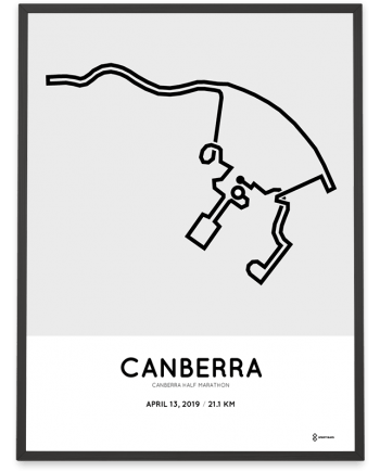 2019 Canberra half marathon course poster