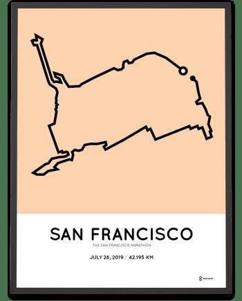 2019 San Francisco marathoner map print