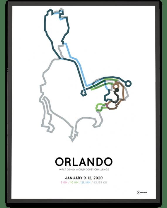 2020 Walt Disney World Dopey Challenge course poster