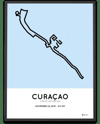 2019 Curacao half marathon routemap poster