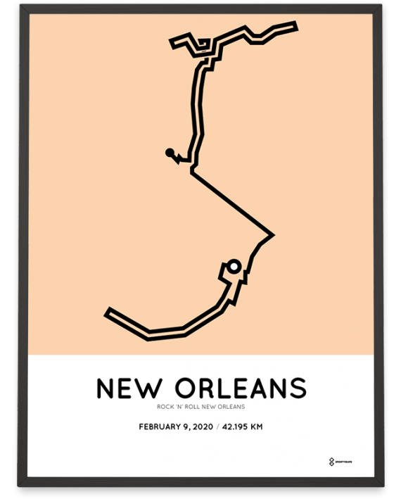 2020 New Orleans marathoner map print