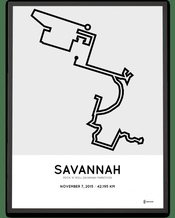 2015 Savannah marathon routemap marathonermap poster