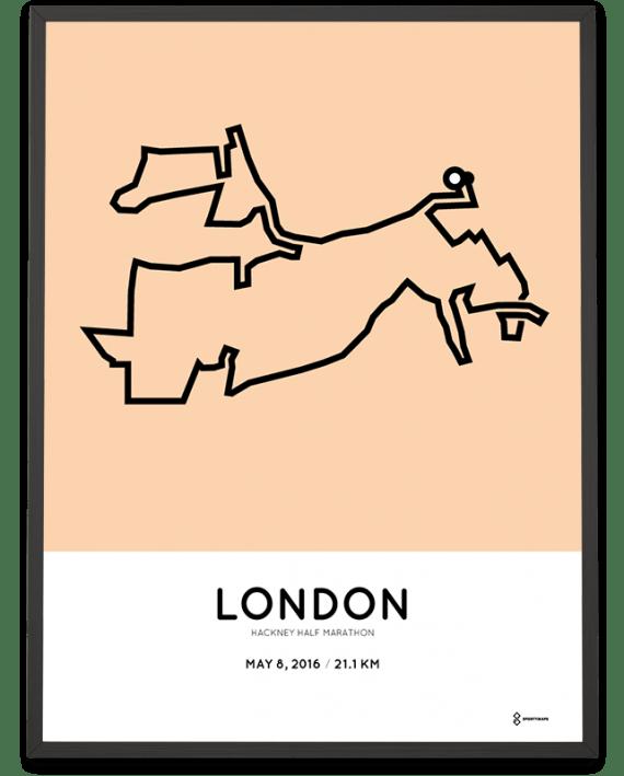 2016 Hackney half marathon racetrace poster