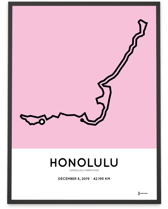2019 Honolulu marathon course poster