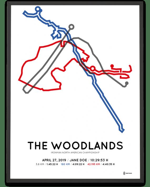 2019 Ironman Texas course poster Sportymaps