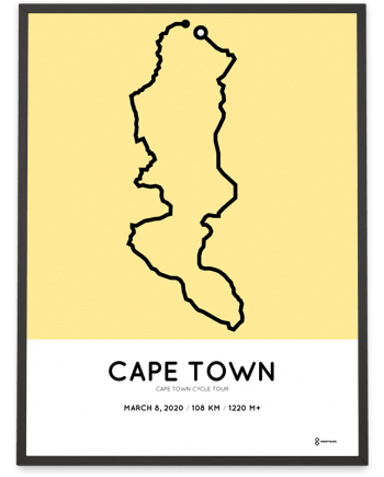 2020 Cape Town Cycle tour course poster Sportymaps