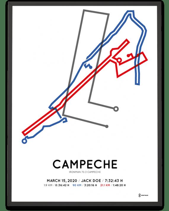 2020 Ironman 70.3 Campeche sportymaps course poster