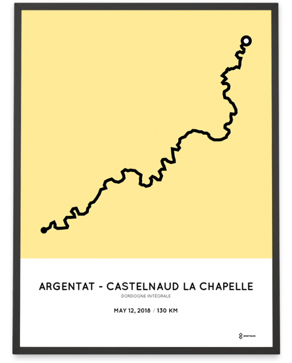 2018 Dordogne Integrale 130km routemap poster