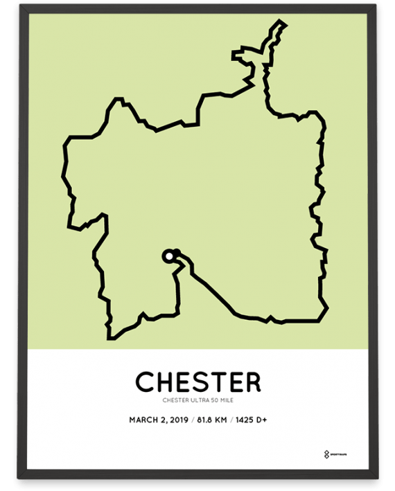 2019 CHester ultra 50 mile route map poster