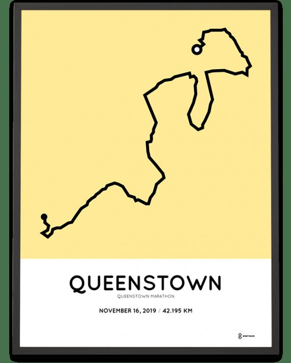 2019 Queenstown marathon racetrace sportymaps print