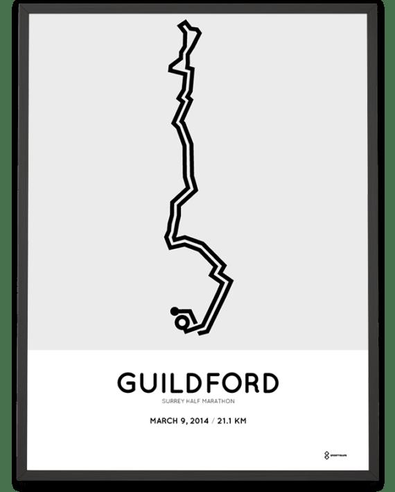 2014 Surrey half marathon racetrace print