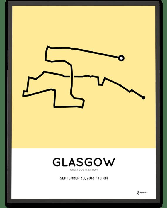 2018 Great Scottish Run 10km routemap print