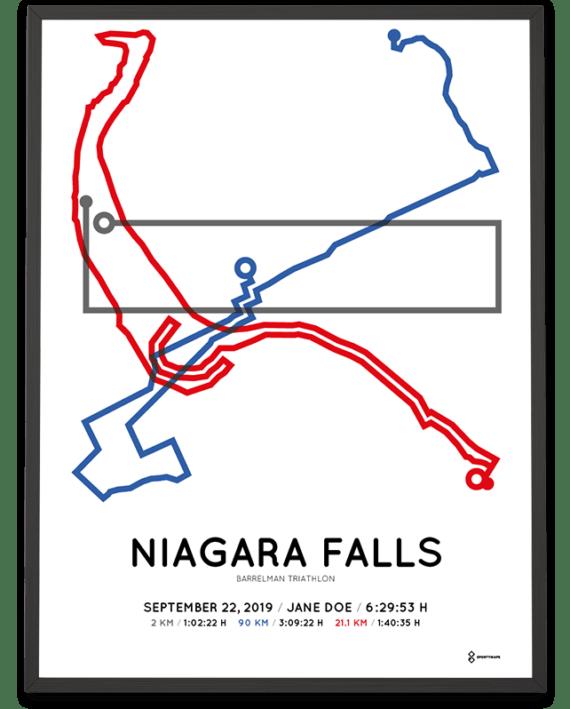 2019 Barrelman triathlon Niagara Falls routemap print
