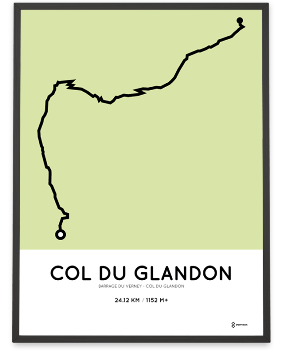 Col du Glandon from Barrage du Verney parcours poster