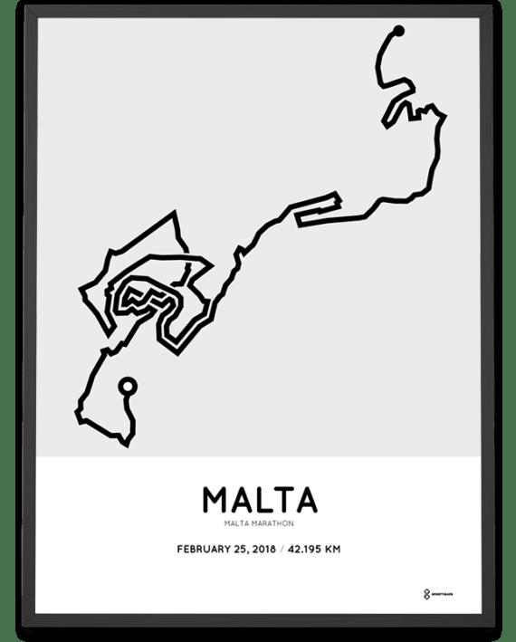 2018 Malta marathon course poster