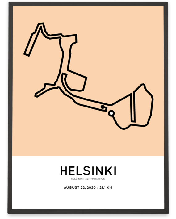 2020 Helsinki half marathon routemap poster