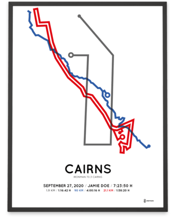 2020 Ironman 70.3 Cairns course poster