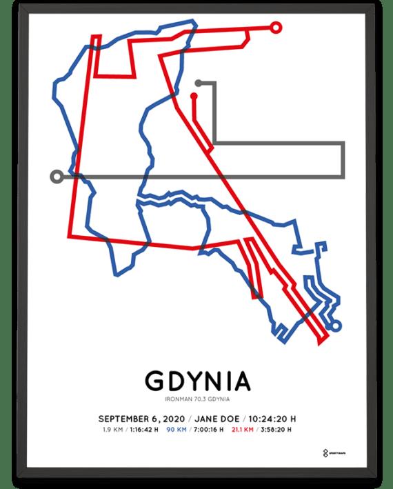 2020 Ironman 70.3 Gdynia routemap print