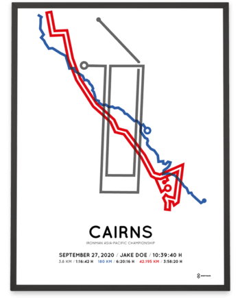 2020 Ironman Cairns routemap poster