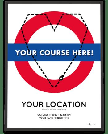 2020 London Virtual Marathon personal course poster