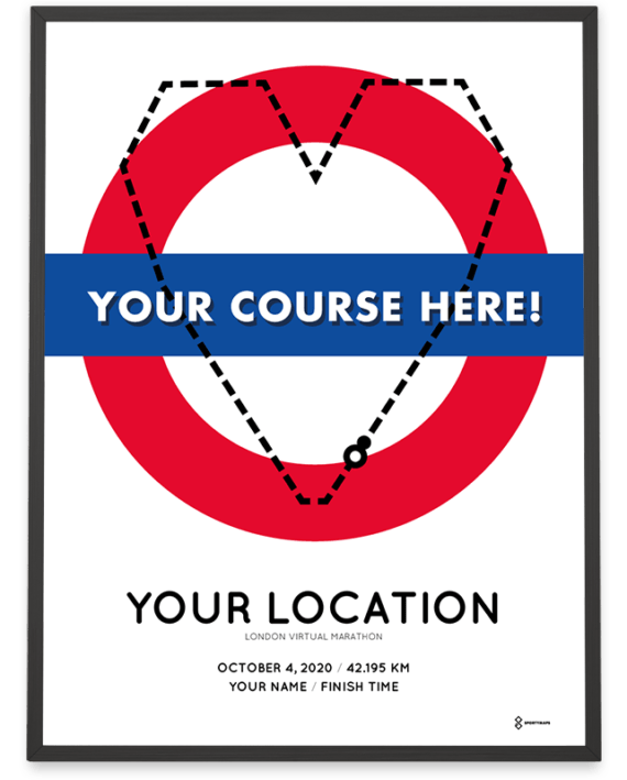 2020 London Virtual Marathon personal course poster