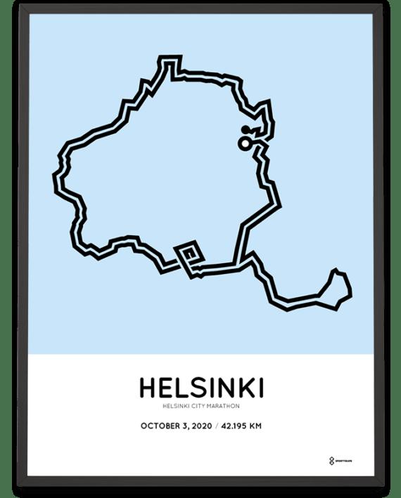 2020 Helsinki City Marathon Sportymaps route map print