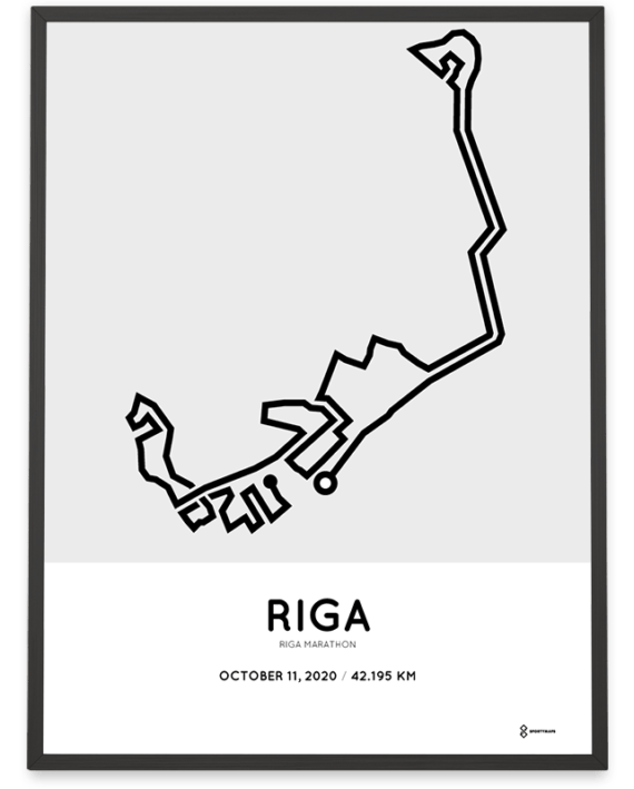 2020 Riga marathon route map poster