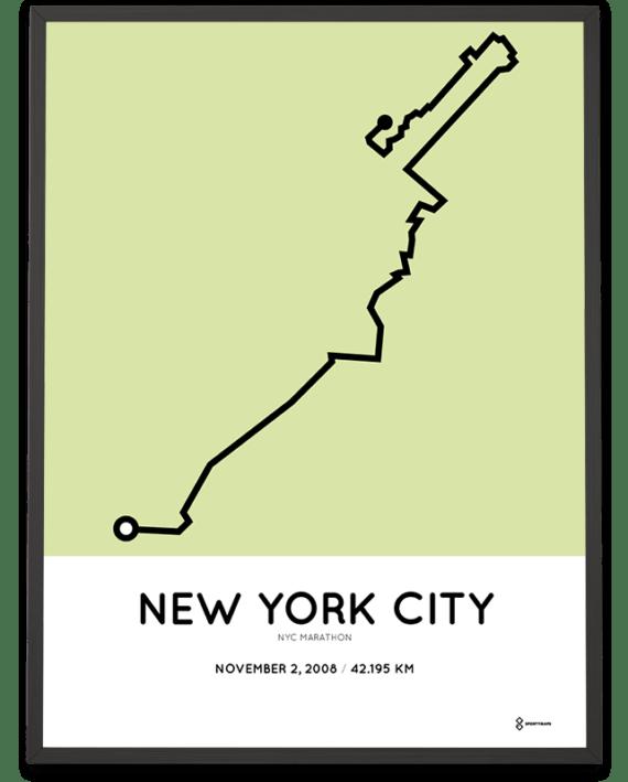2008 NYC marathon course poster