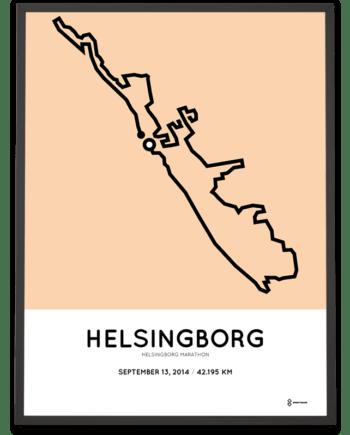 2014 Helsingborg marathon routemap print