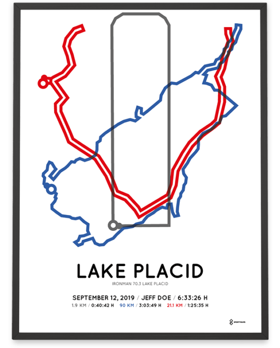 2019 Ironman 70.3 Lake Placid course poster