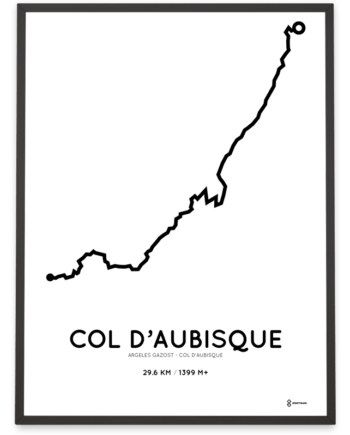 Col d'Aubisque starting in Argeles Gazost routemap poster