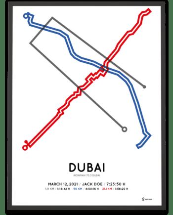 2021 Ironman 70.3 Dubai racetrace poster