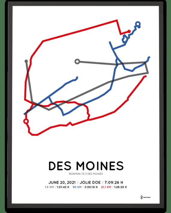 2021 Ironman 70.3 Des Moines course poster