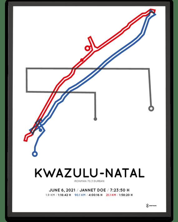2021 Ironman 70.3 Durban course poster