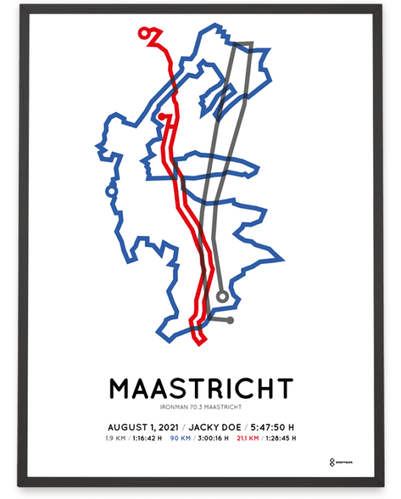 2021 Ironman 70.3 Maastricht parcours sportymaps print